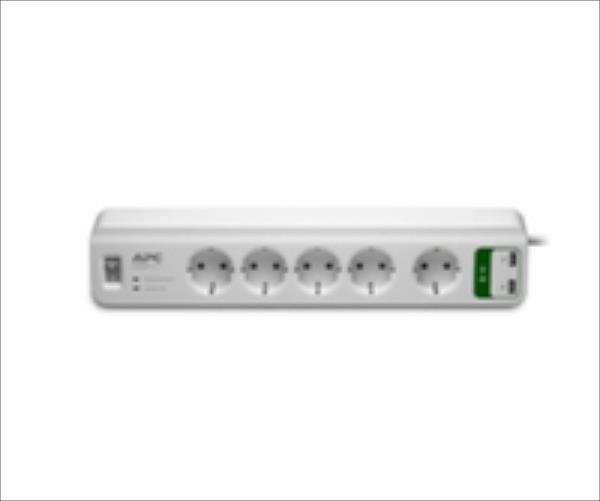APC Essential SurgeArrest 5 outlets with 5V, 2.4A 2 port USB charger 230V Schuko elektrības pagarinātājs