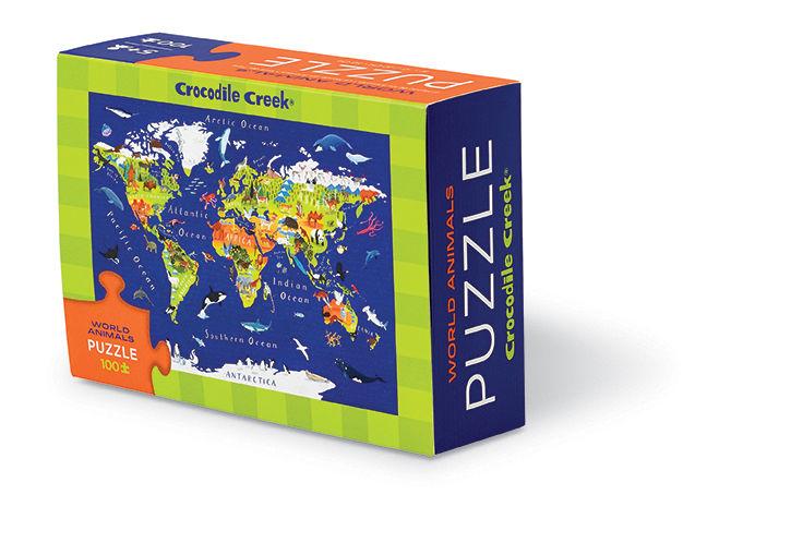 Crocodile Creek Puzzle 100 El. - Animals of the World (212344) puzle, puzzle