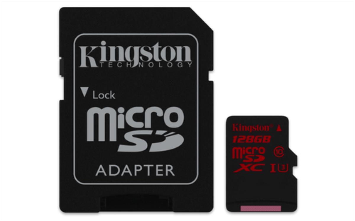 Kingston microSDXC 128GB UHS-I U3 (read/write90/80MB/s) + Adapter atmiņas karte