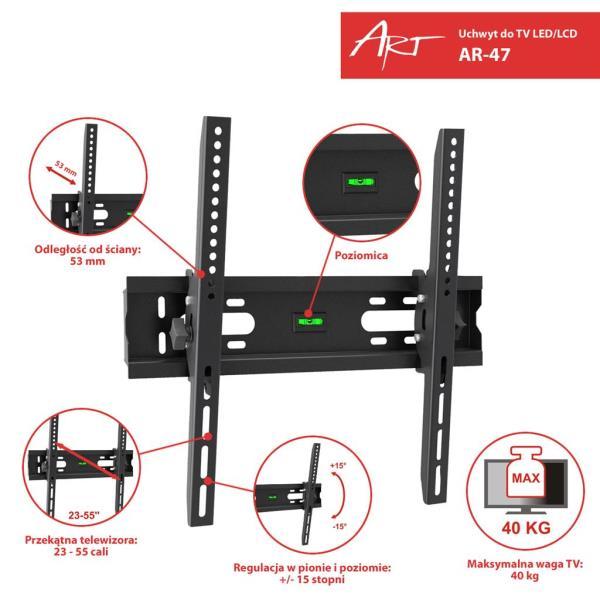 ART Holder AR-47 23-55'' for LCD/LED/PLAZMA black 40KG vertical adjustment TV stiprinājums