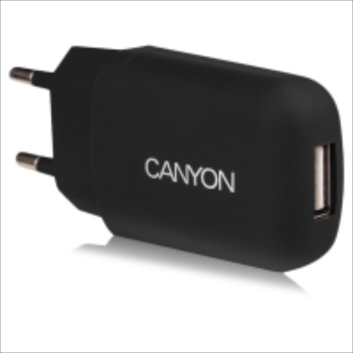 Canyon CNE-CHA11B 1A 5V USB Ligzdas Universāls Tīkla Lādētājs Melns (EU Blister) aksesuārs mobilajiem telefoniem