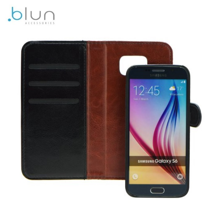 Blun Twin 2in1 Eko ādas sāniski atverams maks ar magnētisku maku-apvalku Samsung J320F Galaxy J3 Melns maciņš, apvalks mobilajam telefonam