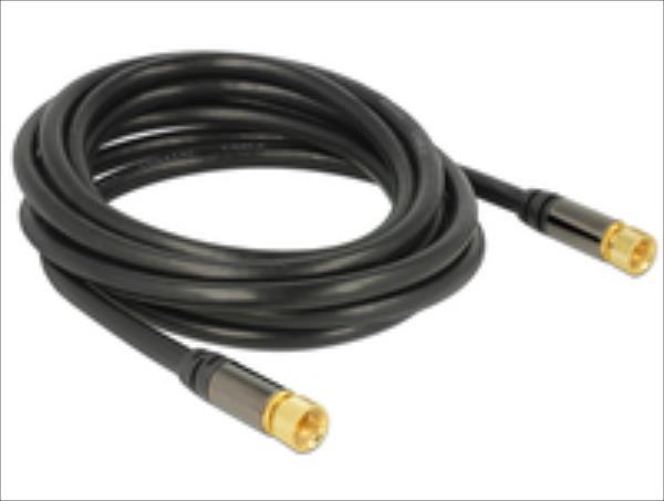 Delock Antenna cable F Plug > F Plug RG-6/U 3 m black kabelis, vads