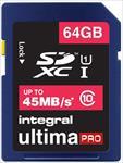 Integral 64GB Ultima Pro SDXC 45MB/sec Class 10 High-Speed ( atmiņas karte