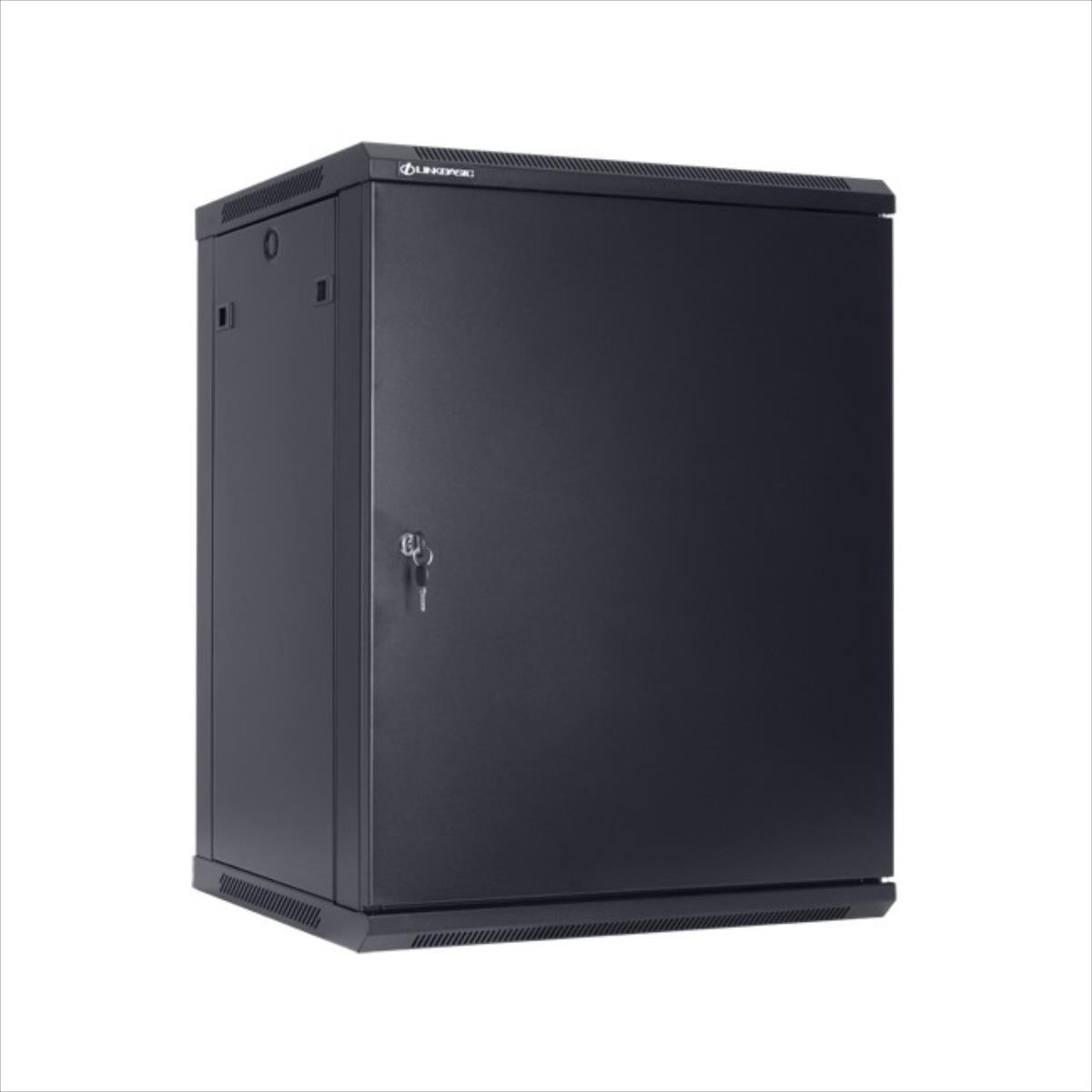 Linkbasic rack wall-mounting cabinet 19'' 12U 600x450mm black (steel front door)