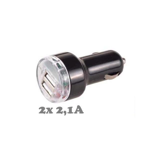 ExLine 2 x 2A Auto 12V/24V Lādētājs ar 2 USB Ligzdām (Planšetdatoram/Telefonam) (EU Blister) iekārtas lādētājs