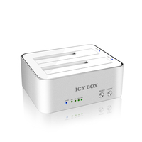 "ICY BOX, 2.5"" Docking and clone station f. 2x 2,5""oder 2x 3,5"" SATA HDD to USB3.0 Host, JBOD + Copy funktion, Aluminium, white piederumi cietajiem diskiem HDD"