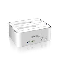 """ICY BOX, 2.5"""" Docking and clone station f. 2x 2,5""""oder 2x 3,5"""" SATA HDD to USB3.0 Host, JBOD + Copy funktion, Aluminium, white piederumi cietajiem diskiem HDD"""