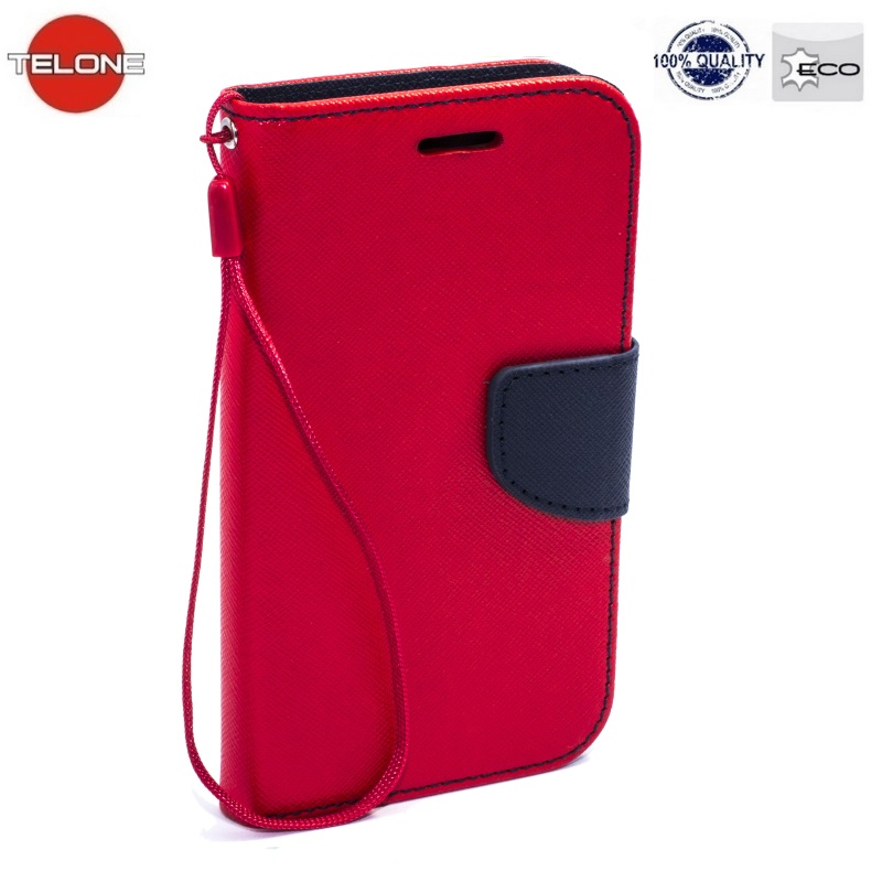 Telone Fancy Diary Book Case ar stendu Apple iPhone 4 4S sāniski atverams Sarkans/Zils maciņš, apvalks mobilajam telefonam