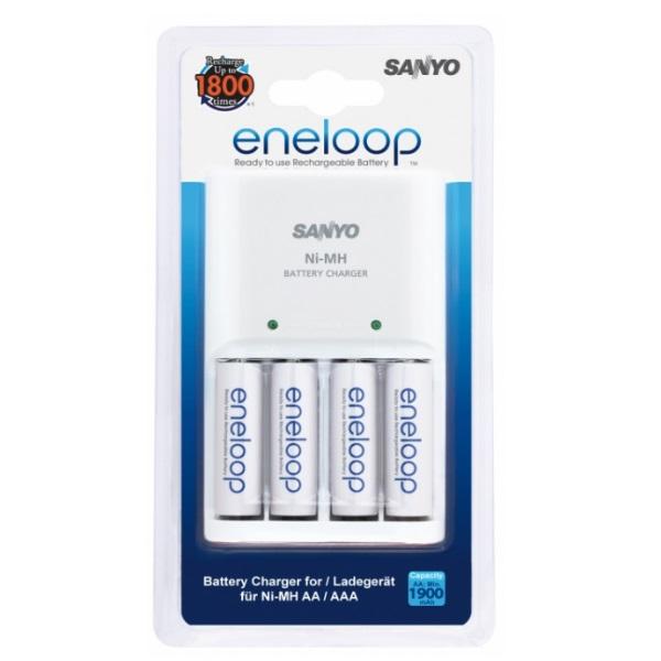 Eneloop AA/AAA Ni-Mh akumulātoru lādētājs ar 4gab. AA 1900mAh baterijām MQN04-E4-3UTGB iekārtas lādētājs