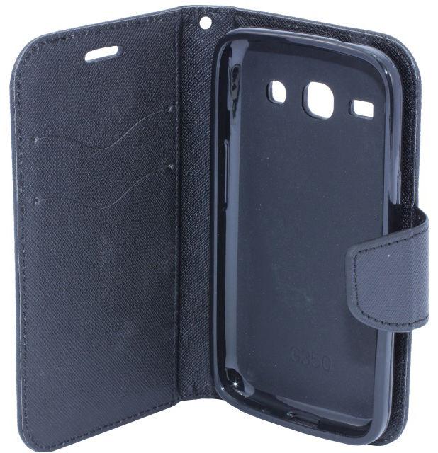 Telone Fancy Diary Book Case ar stendu Sony D2203 D2212 Xperia E3 sāniski atverams Melns maciņš, apvalks