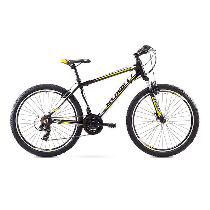 ROMET RAMBLER 26 1 MTB 14-S R26 MELNS-DZELTENS kalnu velosipēds MTB