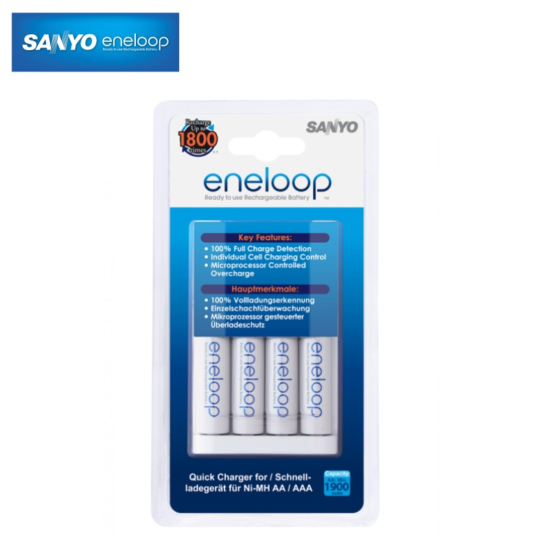Eneloop AA/AAA Ni-Mh akumulātoru ātrais lādētājs ar 4gab. AA 1900mah baterijām MQR06-E4-3UTGB iekārtas lādētājs
