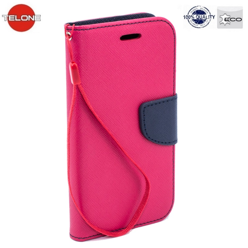 Telone Fancy Diary Book Case ar stendu Sony D5503 Xperia Z1 Mini sāniski atverams Rozā/Zils maciņš, apvalks mobilajam telefonam