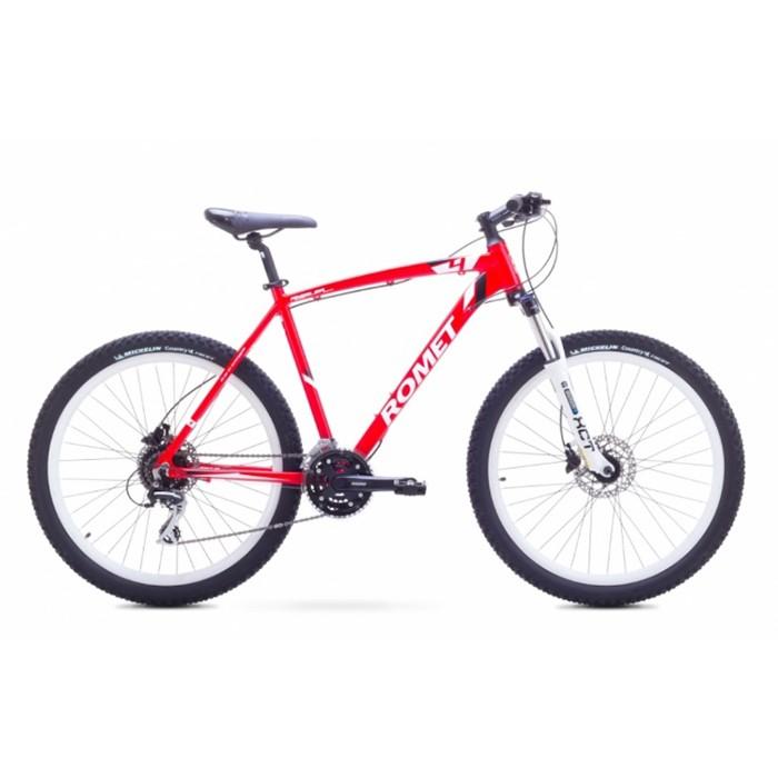 ROMET RAMBLER 26 4 MTB 18-M R26 SARKANS/BALTS kalnu velosipēds MTB