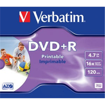 Verbatim DVD+R 4.7GB 16X AZO WIDE PRINTABLE jewel box matricas