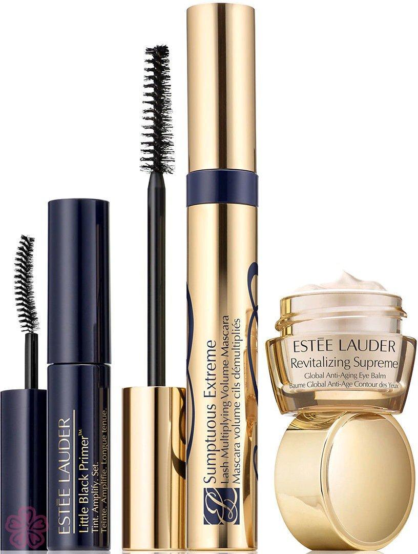 Estee Lauder Sumptuous Extreme Kit Mascara 8 ml +  Little Black Primer 2,8 ml 01 Black + Revitalizing Supreme Anti Aging Eye Balm 5 ml 8ml
