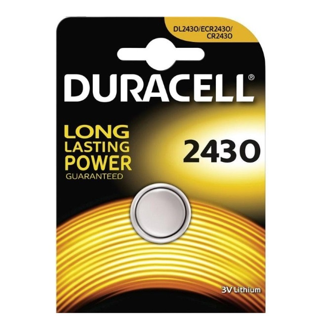 Duracell CR2430 Long Lasting Power 3V Lithium Litija Baterija (DL2430 / ECR2430) (1gab. Blisters) Baterija