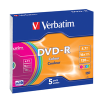 Verbatim DVD-R 4.7GB 16X 5pack AZO COLOUR slim box - 43557 matricas