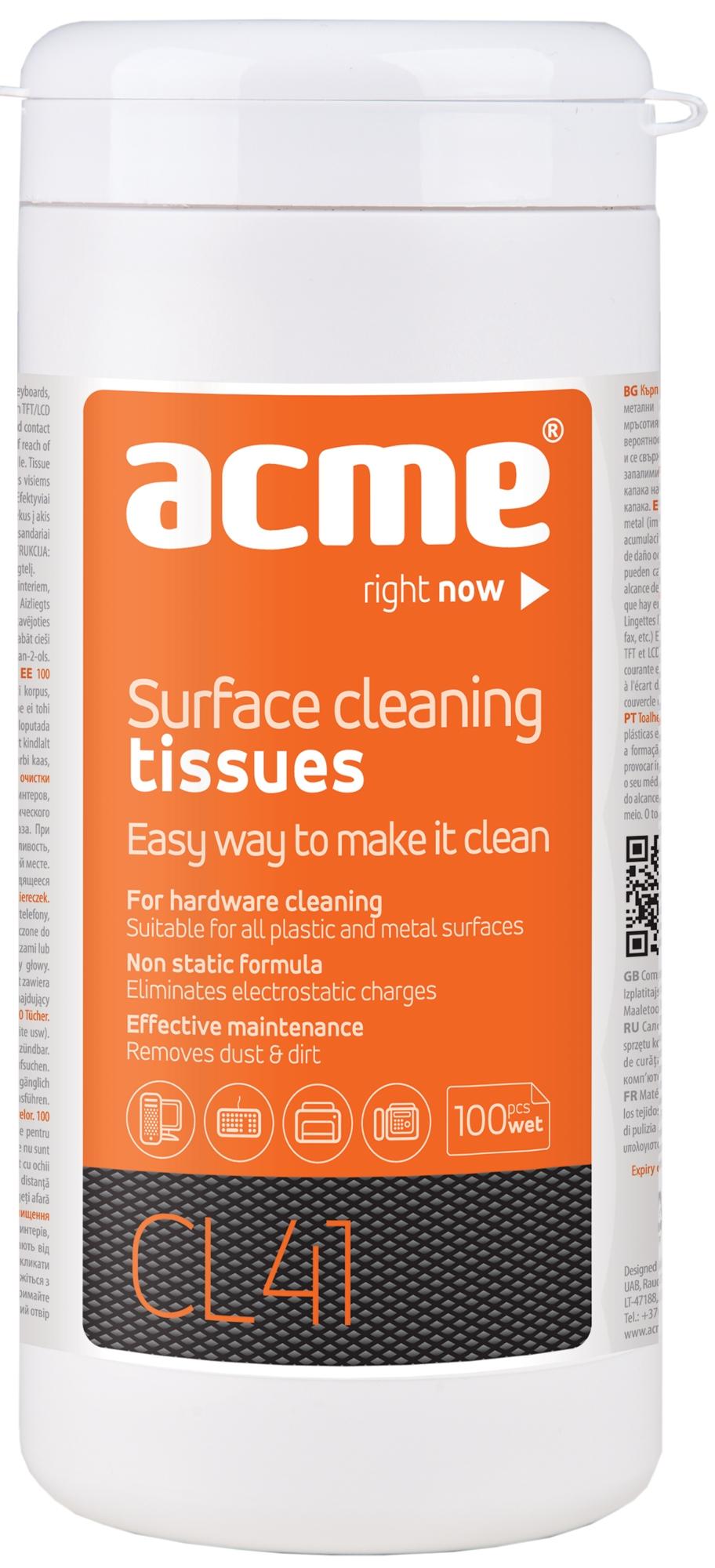 Acme CL41 Surface Cleaning Wipes 100 pcs tīrīšanas līdzeklis