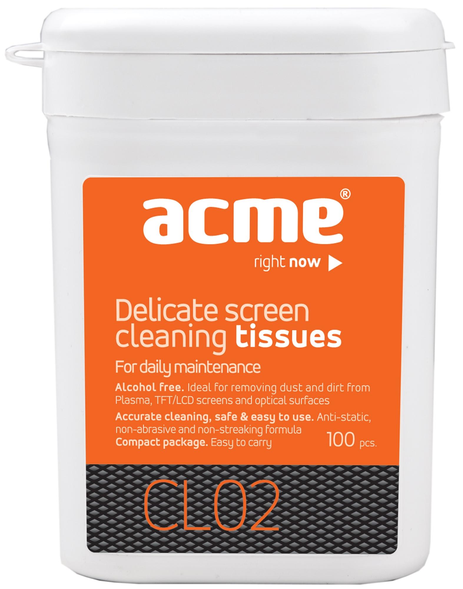 Acme CL02 Screen Cleaning Wipes TFT/LCD 100 pcs tīrīšanas līdzeklis