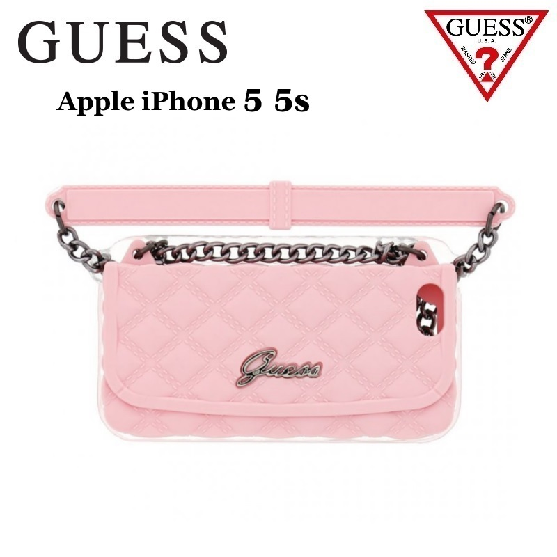 GUESS GUCLTP5QSP Quilted Silicone Clutch iPhone 5 5S Pink maciņš, apvalks mobilajam telefonam