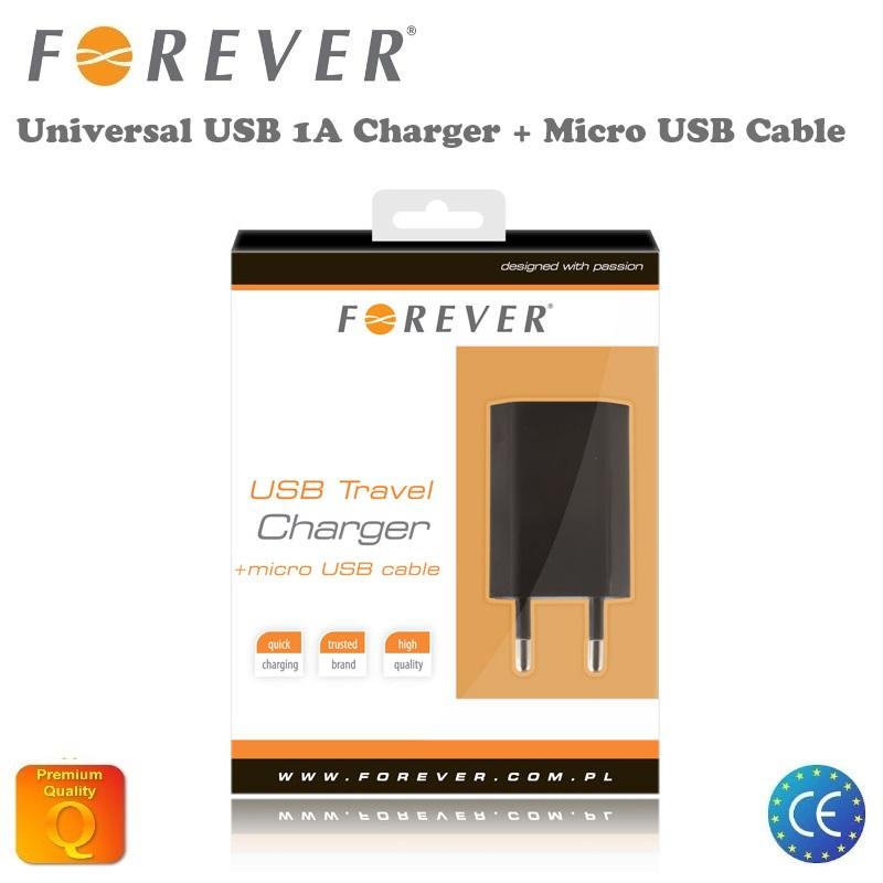 Forever 1A USB Ligzdas Universāls Tīkla lādētājs + Micro USB aksesuārs mobilajiem telefoniem
