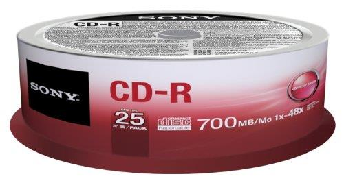 Sony CD-R 700 MB (80 min) | 48x [cake box 25 pcs] matricas