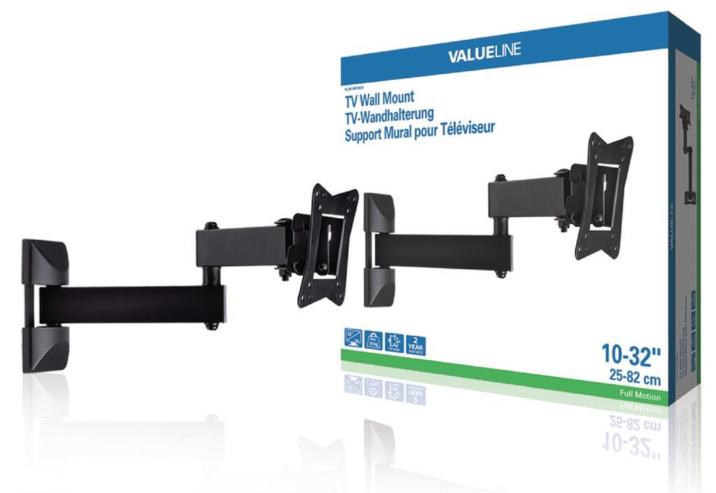 Valueline TV wall mount full motion 10 - 32''/25 - 82 cm 30 kg TV aksesuāri