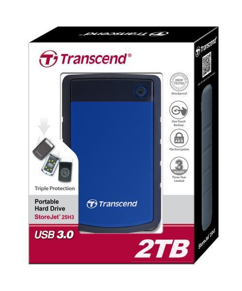 Transcend 25H3B 2.5'' 2TB USB3, Triple shock protection system Ārējais cietais disks