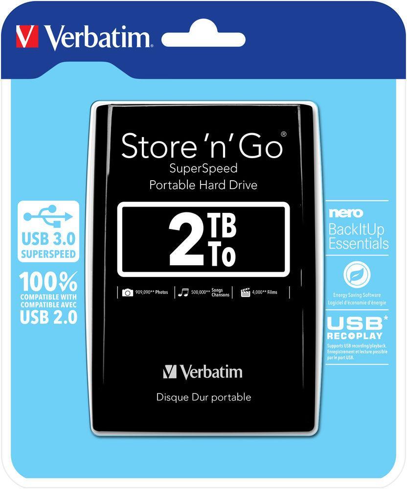 Verbatim 6.3cm (2.5)   2TB USB 3.0 Store'n Go Black retail Ārējais cietais disks