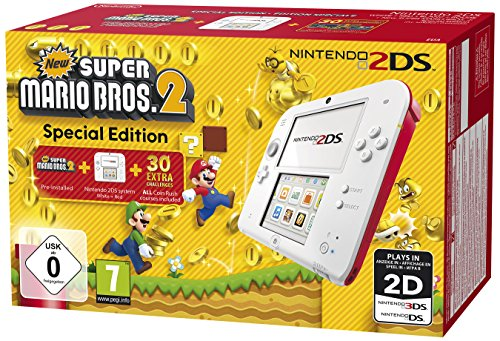 Nintendo 2DS (white+rot) inkl. New Super Mario Bros. 2 (Sonder Edition) spēļu konsole