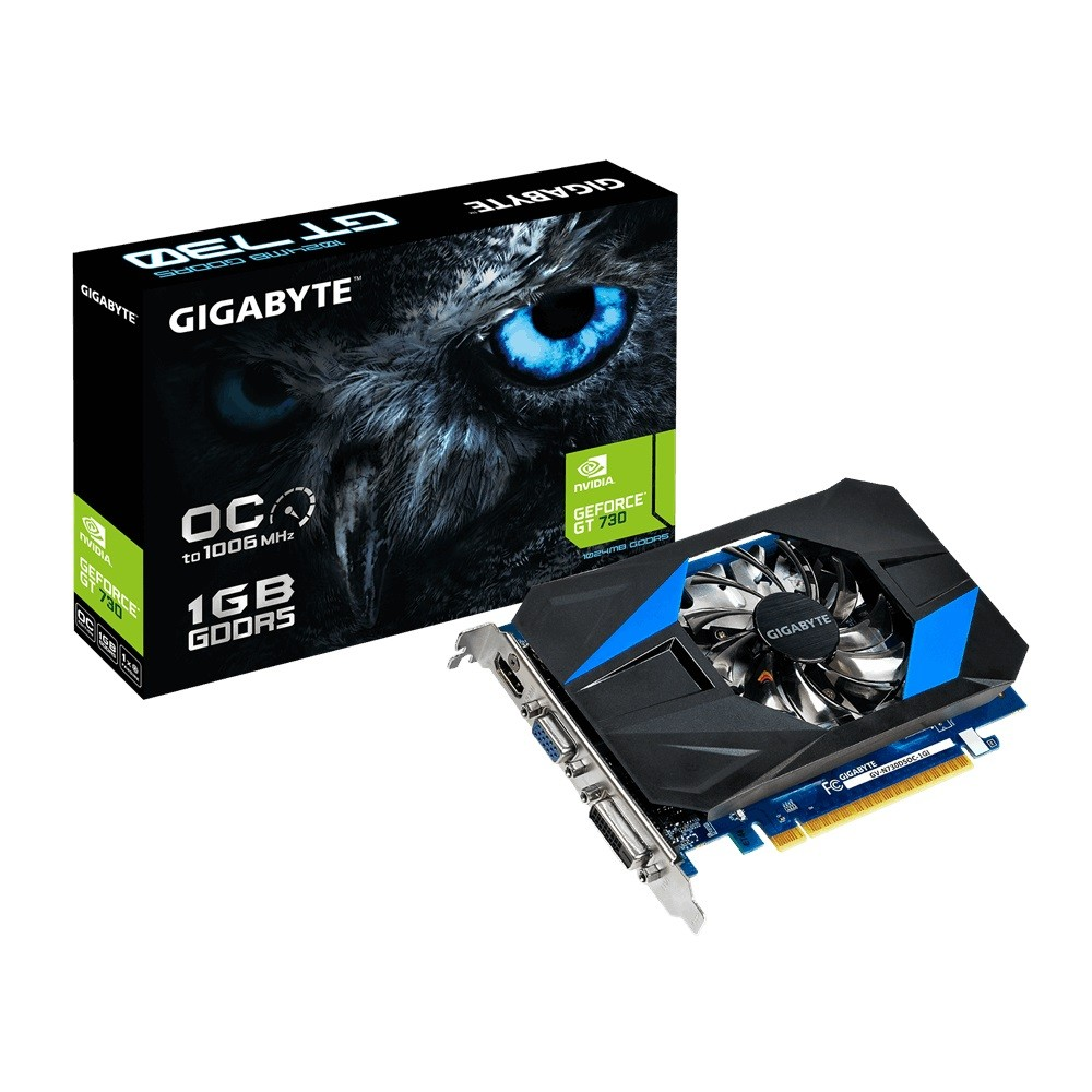 Gigabyte GeForce GT 730 OC, 1GB GDDR5 (64 Bit), HDMI, DVI, D-Sub video karte