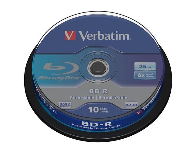 BluRay BD-R SINGLE LAYER Verbatim [ Spindle 10   25GB   6x matricas