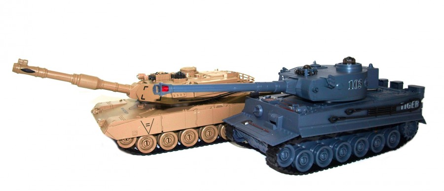 The set of tanks fighting each other - M1A2 Abrams and German Tiger v2 2.4GHz 1:28 RTR UF/99827