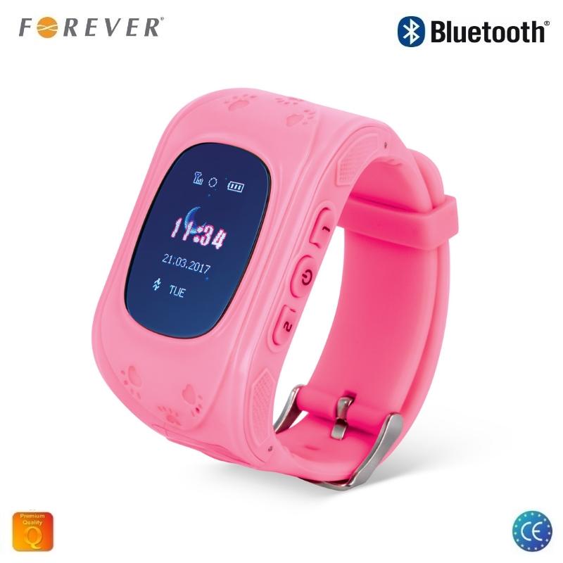 Forever Smart KW-100 Super Viegla Bērnu GPS Pulkstenis / AGPS / LBS Locating / SMS / Zvana Funkcija / SOS Funkcija / Rozā Viedais pulkstenis, smartwatch
