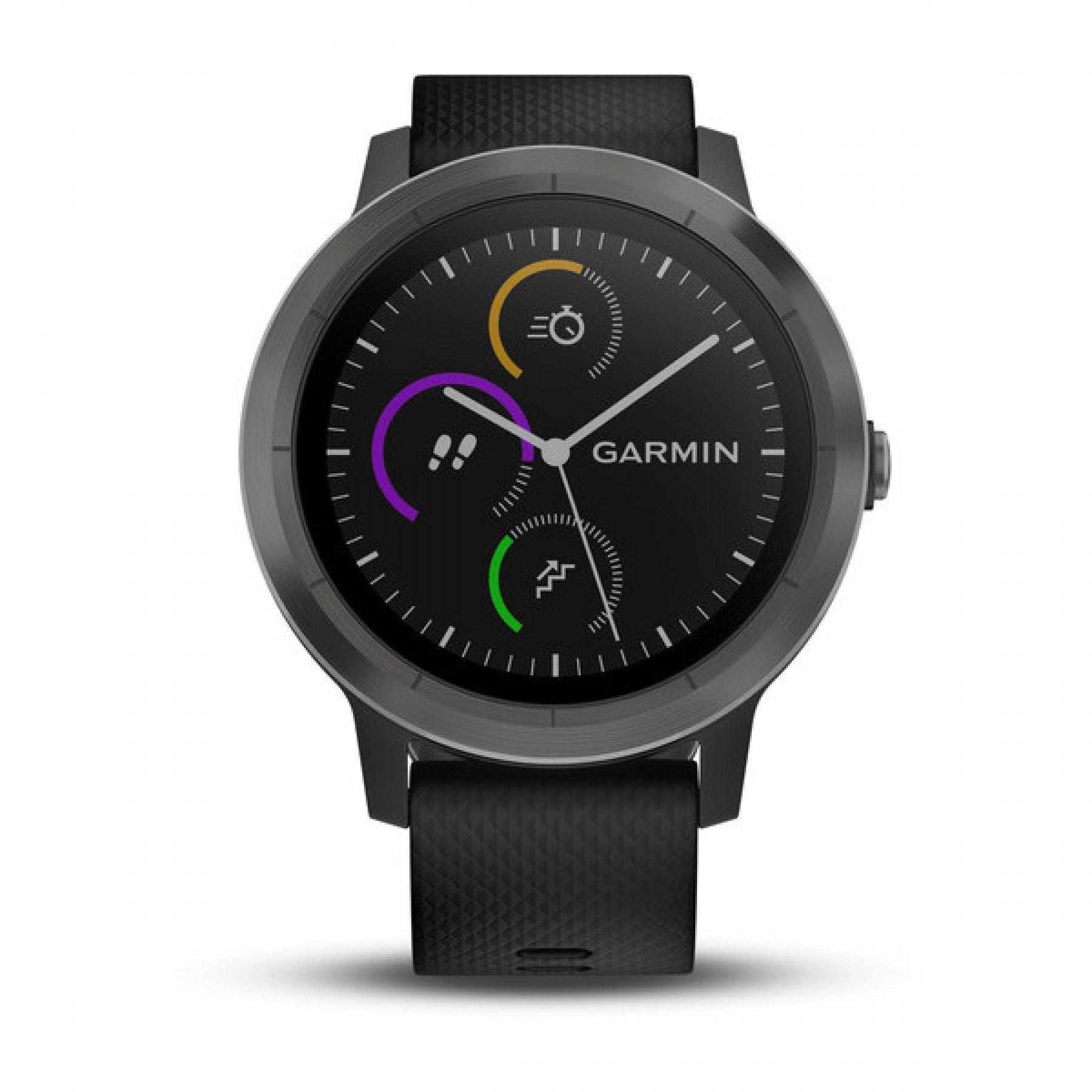 Garmin vivoactive 3, E EU, Black/Black Silicone, Slate sporta pulkstenis