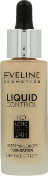 Eveline Liquid Control HD Face Foundation with Dropper No. 015 Light Vanilla 32ml tonālais krēms