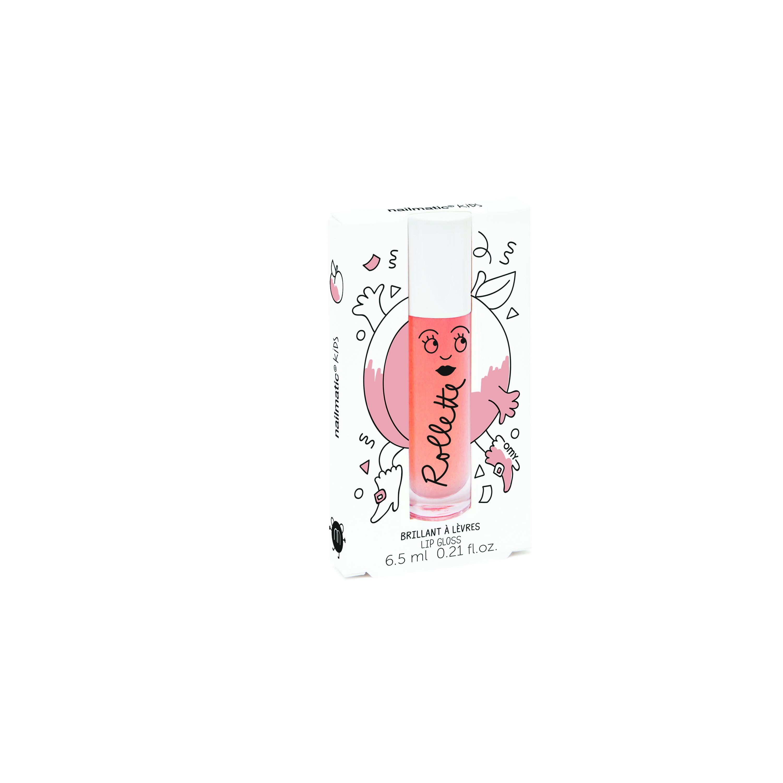 Nailmatic Kids Dabīgs un mitrinošs bērnu lūpu spīdums ar vitamīniem un augļu garšu, Peach, 6,5 ml ROLLPECHE Bērnu smaržas