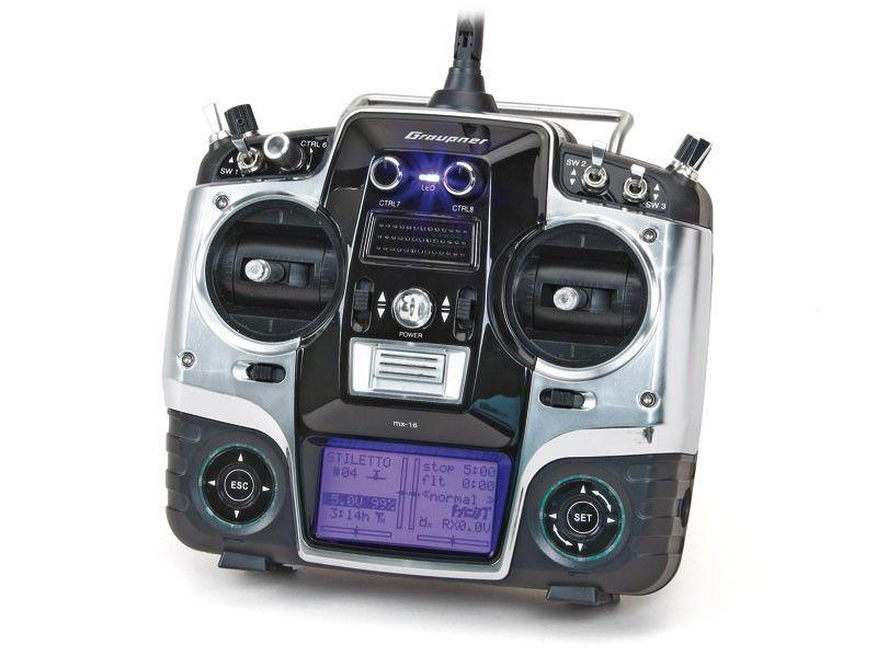 MX-16 HoTT 2.4GHz 8CH (odbiornik GR-16, interfejs USB, karta pamięci, akumulator, ładowarka) GRA/33116.16