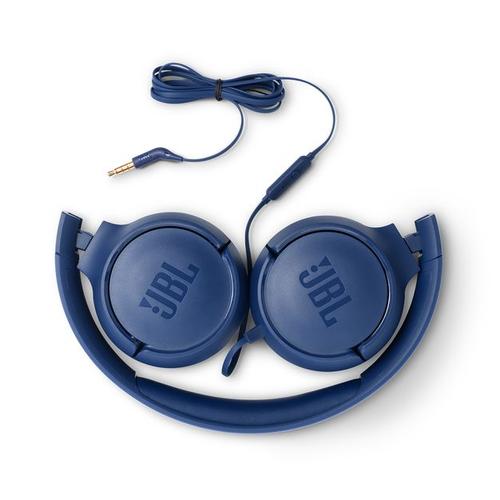 JBL on-ear austiņas ar mikrofonu, zilas JBLT500BLU austiņas