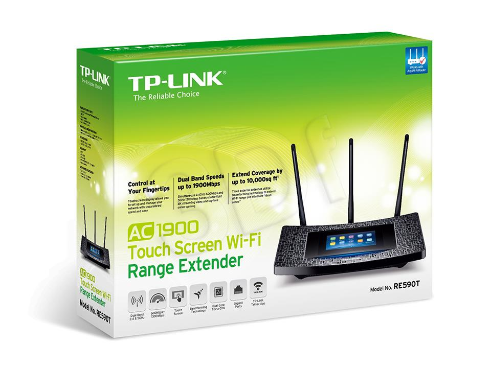 TP-Link RE590T AC1900 Touch Screen Wi-Fi Range Extender WiFi Rūteris