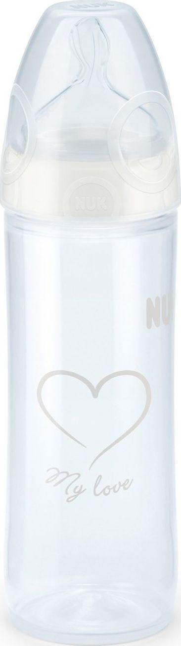 NUK Polipropileninis buteliukas su silikoniniu zinduku NUK First Choice + NEW CLASSIC, 250 ml, 6-18 men. 5032746 aksesuāri bērniem