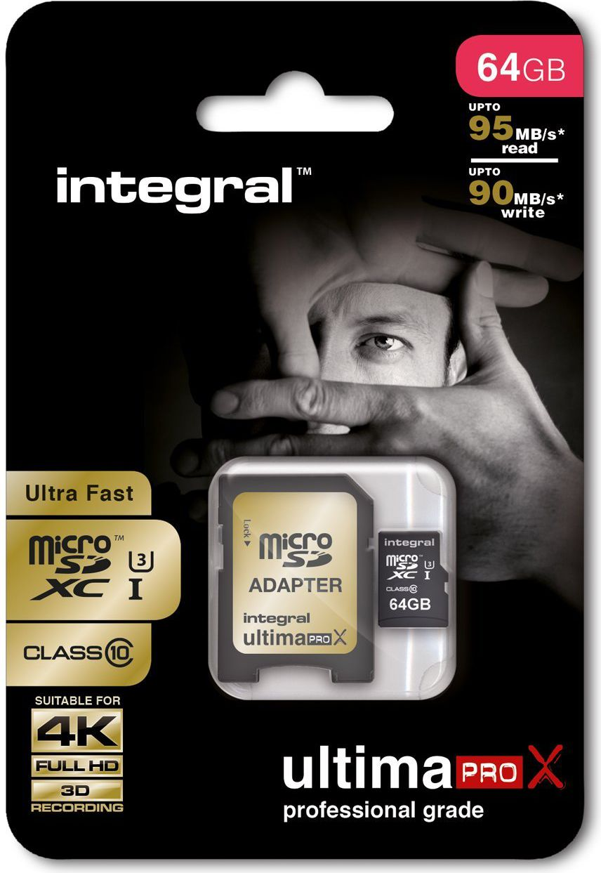 Integral 64GB micro SDHC SDXC Cards C10 - Ultima Pro X- UHS-1 U3 90/90 MB/s