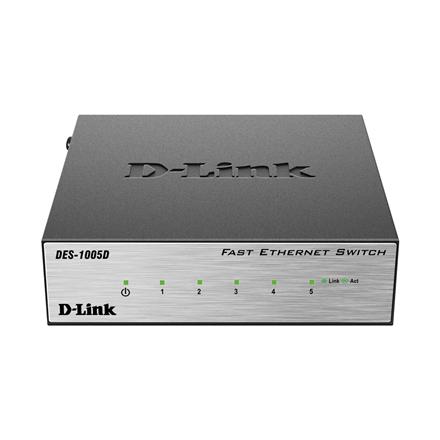 D-LINK DES-1005D, 5-port UTP 10/100Mbps Auto-sensing, Stand-alone, Unmanaged, Palm-top Fast Ethernet Switch, Metal case komutators