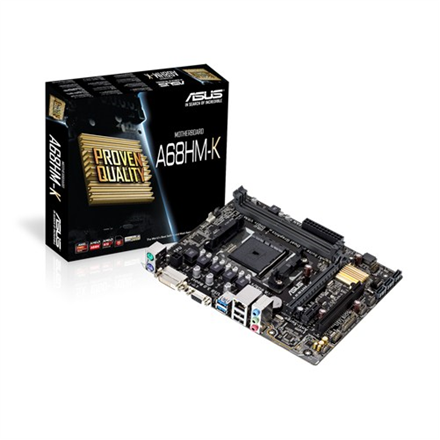 ASUS A68HM-K, AMD A68H, DualDDR3-2133, SATA3, D-Sub, DVI, mATX pamatplate, mātesplate