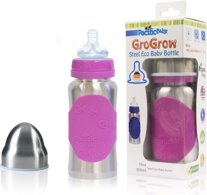 Pacific Baby Butelka ze smoczkiem Pacific Baby GroGrow 300 ml - Silver Pink (PB321) PB321 aksesuāri bērniem