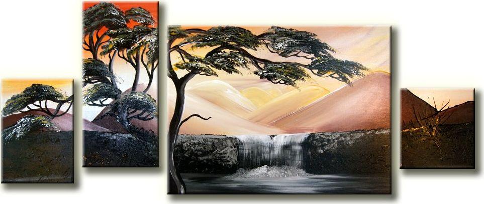 Keturiu daliu tapytas paveikslas Medis prie krioklio 5656772