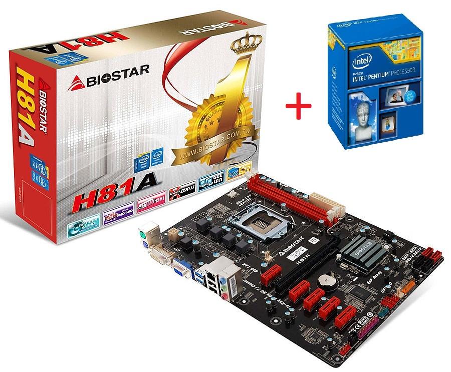 Biostar H81A, LGA1150, DDR3-1600, 2 x USB 3.0 Port + INTEL Pentium G3260 LGA1150 Mining komplekts pamatplate, mātesplate