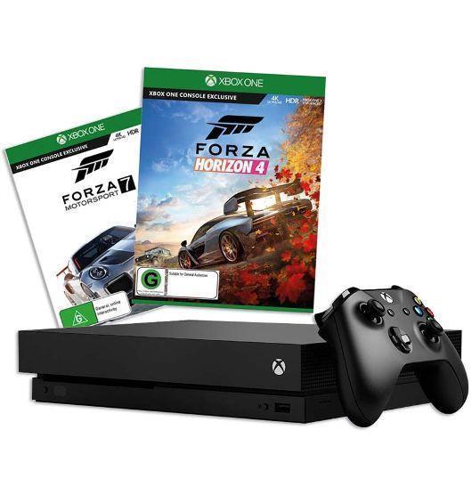 Microsoft Xbox One X 1 TB + Forza Motorsport 7 + Forza Horizon 4 (CYV-00056) spēļu konsole